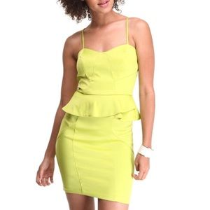XOXO Chartreuse Green Peplum Spaghetti Strap Dress